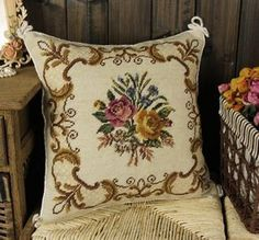 "16"" Needlepoint Pillow Cushion Beautiful Yellow Red Roses Floral Bouquet 