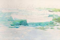 Portofino Boats Reflections Watercolor Painting Lesson 2