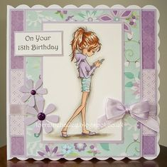 handmade birthday card from Mrs B's Blog ... teen card ... super-skinny girl with her head staring at her phone ... just like my teen students!!!!!!!!!!! ... delightful card featuring mint a light purple ... LOTV