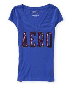 Camiseta Aeropostale Feminina SHINE V-NECK - Roxa - Figo Verde: Roupas importadas originais