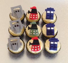 12 x edible icing Doctor Who themed cupcake toppers by ACupfulofCake on Etsy £16.95