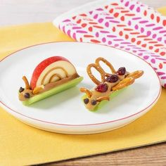 Snail apple celery peanut butter pretzel butterfly play with your food