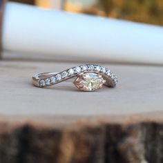 Unique White & Rose Gold Promise Ring. We reset the clients heirloom stones. #JewelerByDesign