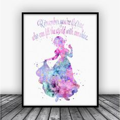 Snow White Quote Watercolor Art Print Poster. Disney Quotes For Home Decoration, Nursery and Kids Room Decor.