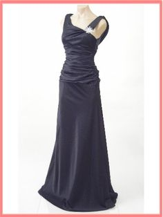 Elegant Black Satin Draped Back Evening Gown - Cute Bridesmaid dresses but in brown :)