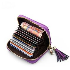 Plaid Genuine Leather Women ID Credit Card Holders Tassel Card Wallet Protector Organize Solid Business Carteira Masculina BK052