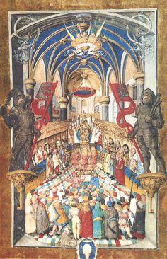 Pontyfikał Erazma Ciołka, intronizacja króla polskiego (Te Deum laudamus), miniatura całostronicowa, Kraków, 1510–1515 — MNK, Biblioteka Czartoryskich