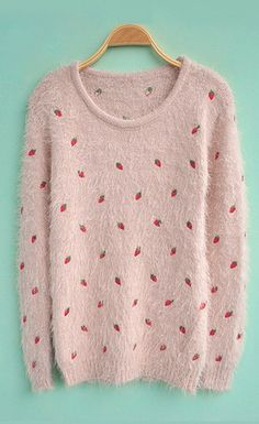 Light Pink Long Sleeve Strawberries Embroidery Sweater