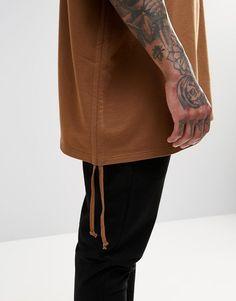 Image 3 ofASOS Extreme Oversized Short Sleeve Sweatshirt In Camel