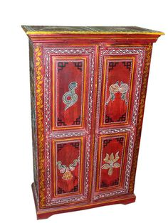 Home Decorative Red Painted Snake Charmer Rare Wooden Armoire Cabinet Chest From India Funky Painted Furniture, Eclectic Furniture, Indian Furniture, Antique Furniture, Bedroom Furniture, Bohemian Interior, Bohemian Design, Bohemian Decor, Painted Armoire