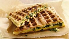 Breakfast waffles are easy when you start with crescents! Stuff in your favorites like kale and scrambled eggs.