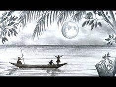 How to draw scenery of Moonlight night scene with pencil sketch step by step (easy drawing video) - Watch Video - Art Ideas Scenery Drawing Pencil, Pencil Sketches Landscape, Easy Pencil Drawings, Shading Drawing, Pencil Sketch Drawing, Nature Drawing, Landscape Drawings, Cool Art Drawings, Art Drawings Sketches