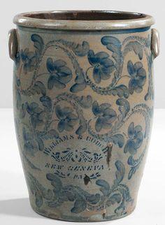 Myrick Scrimshawed Tooth Brings $110,700 | Maine Antique Digest Antique Crocks, Old Crocks, Antique Stoneware, Stoneware Crocks, Antique Pottery, Blue Pottery, Earthenware, Pottery Marks, Glazes For Pottery