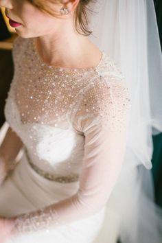 Sparkling Long Sleeve Winter Wedding Dress | Dearheart Photography on @SouthBoundBride via @aislesociety