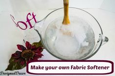 How to Make Fabric Softener! | This one has no hair conditioner. water--baking soda--vinegar.  deals with reaction.
