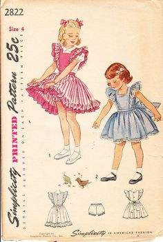 Vintage Sewing Pattern for a Little Girls by ilovevintagestuff