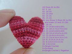 This is the Crocheted Heart Pattern / add to 24 in the beginning it becomes more slim / to 12 it becomes more chubby