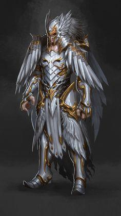 插画 设定 战士 神将 武将 光影 魔幻...@胭芷采集到天使(1113图)_花瓣