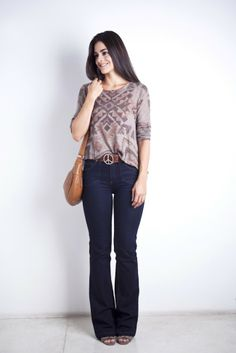 Tricô tribal + jeans flare