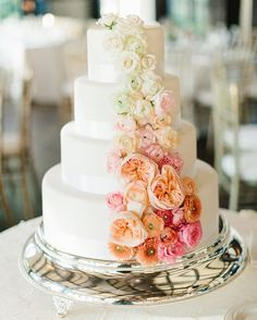 This pretty cascading flower wedding cake will wow you