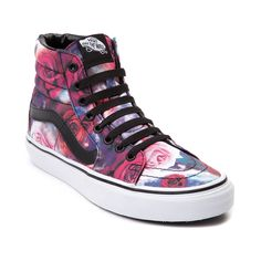 Add a splash of intergalactic floral flair to your feet with the new Sk8 Hi Galaxy Rose Skate Shoe from Vans! The Sk8 Hi Galaxy Rose Skate Shoe sports a classic hi-top design with vibrant floral and galaxy printed uppers, and signature leather side stripe. <b>Only available at Journeys and SHI by Journeys!</b>  <br><br><u>Features include</u>:<br> > Graphic printed satin upper<br> > Vans signature side stripe<br> > Lace closure offers a secure fit<br> > Padded tongue and collar provide…