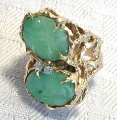 ESTATE-Vintage-Heavy-14k-Gold-Carved-JADE-RING-with-Diamonds-size-9-5