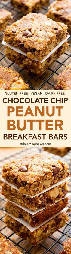 Peanut Butter Chocolate Chip Oatmeal Breakfast Bars (V+GF): a simple ...