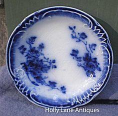 Antique Flow Blue Butter Pat Marechal Niel Grindley