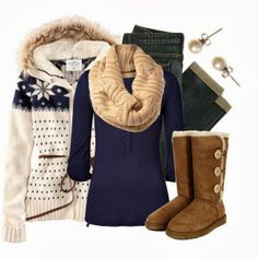 Adorable ladies woolen jacket, scarf,woolen shoes and jeans fashion
