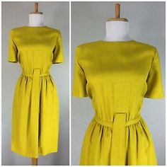 VINTAGE 1960s WRAGGE SHANTUNG SILK YELLOW GOLD WIGGLE DRESS S M