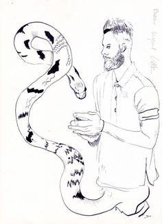 Jean-Xavier Renaud, Beau Serpent Bitte, 2015, Encre de chine sur papier