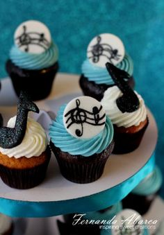 Cupcakes I made for DYVF fundraising event.The cupcakes here are photographed w… Music Cupcakes, Themed Cupcakes, Music Cookies, Music Note Cake, Music Notes, Cupcake Recipes, Cupcake Cakes, Music Themed Cakes, Birthday Cake Pops