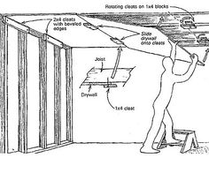 More solo drywall hanging - Fine Homebuilding Tip Drywall Lift, Drywall Finishing, Drywall Repair, Basement Finishing, Hanging Drywall, Steel Framing, Drywall Ceiling, Drywall Installation, Deck Construction