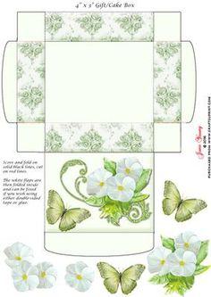 """Gift Cake Box White Primroses on Craftsuprint designed by June Young - This gift/cake box is approx. 4"""" x 3"""" when made up and has floral side panels and a decorated lid. It is very simple to assemble and there is decoupage provided for the flower and butterfly decoration on the lid. - Now available for download!"""