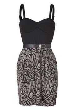 Black/Fawn Ponte/Silk Combo Bustier Dress by AKIKO | Luxury fashion online | STYLEBOP.com