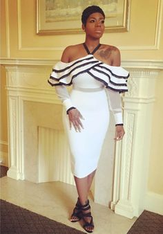 Fantasia wearing the Sophie ruffled fringe Dress while doing press rounds for the BET weekend.