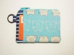 Pig zipper coin purse  card holder  sewing  fabric by https://www.etsy.com/sg-en/shop/AlmondTree, #purse, #coinpurse, #cardholder, #womenwallet #cardholder, #purse, #pig, #cute