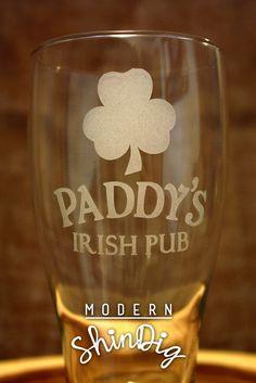 Irish Beer Glasses Paddy's Irish Pub Etched Glasses- Beer Mug or Pint Glass - Beer Mug Pint Pilsner Mason Jar Mug! by ModernShindig on Etsy https://www.etsy.com/listing/256943257/irish-beer-glasses-paddys-irish-pub