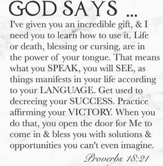 Thx for your wisdom God- I needed to hear it from u Prayer Scriptures, God Prayer, Prayer Quotes, Bible Verses Quotes, Faith Quotes, Religious Quotes, Spiritual Quotes, Power Of The Tongue, Jesus Christus