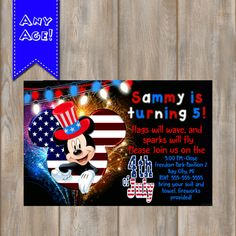 4th OF JULY INVITATION Birthday Invitation by KidzPartyPrintables