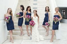 Eventually I will make a decision between pink or yellow to go with the dark blue bridesmaids dresses! Bridesmaid Poses, Navy Bridesmaid Dresses, Blue Bridesmaids, Wedding Dresses, Blue Dresses, Miami Wedding, Blue Wedding, Wedding Colors, Wedding Styles