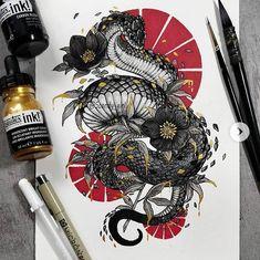 Japanese Tattoos 188588303134507883 - Coiled Snake by Jonna Hyttinen Source by BellaRosazza Tattoo Sketches, Tattoo Drawings, Art Sketches, Art Drawings, Dragon Tattoo Drawing, Snake Drawing, Drawing Art, Kunst Tattoos, Body Art Tattoos