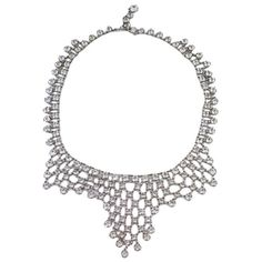 Art Deco Crystal Mesh Bib | From a unique collection of vintage drop-necklaces at https://www.1stdibs.com/jewelry/necklaces/drop-necklaces/