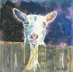 "Barbara Marsh Wilson,   ""Goat""   Monoprint on Box,   12 x 12 inches"