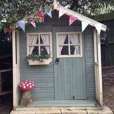 10 Amazingly Awesome Cubby Houses Part 3 - Lovely pretty garden shed / summer house Photo by mrs_button on Instragram - Cubby Houses, Play Houses, Shed Design, Garden Design, Painted Shed, Painted Playhouse, Wendy House, Shed Colours, Paint Colours