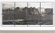 Tacita Dean's 'Fernweh' is a photogravure work constructed from enlargements of vintage postcards of different landscapes melded into one big imaginary scene. Its dimensions are 90 1/2 x 197 inches.