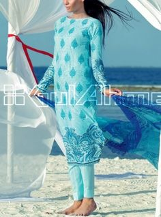 Light Turquoise Embroidered Cotton Lawn Dress