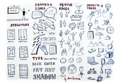 This is tips for beginner sketchnoters with the basic elements useful while sketchnoting - structure, frames and lines, type, people and faces, objects and ideas.