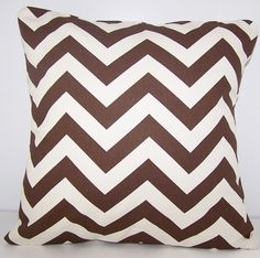 PILLOW COVER . Throw Pillow. Handmade Custom Modern Euro Sham 24 x 24 Premiere Fabrics CHEVRON Lattice Brown