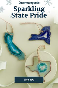 These states-shaped, stoneware ornaments feature crackled glass glazed surfaces that resemble geode slices. Handmade by Kerry Brooks in Minneapolis, Minnesota. Dog Ornaments, Star Ornament, How To Make Ornaments, Holiday Ornaments, Creative Christmas Gifts, Creative Gifts, Holiday Tree, Christmas Trees, Merry Christmas
